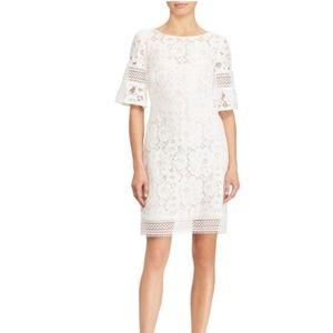 LAUREN RALPH LAUREN WHITE LACE ELBOW SLEEVE DRESS